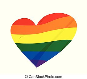 lgbt, conceito, heart., arco íris