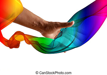 LGBT Concept. Hand man touch fabric blowing rainbow color isolated on white background. LGBT Activism, community and freedom. Lesbian, gay, bisexual and transgender with copy space.