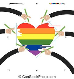 LGBT Design With Hands Vector Illustration