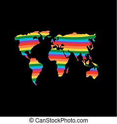 LGBT earth. Planet mainland and gay flag rainbow colors