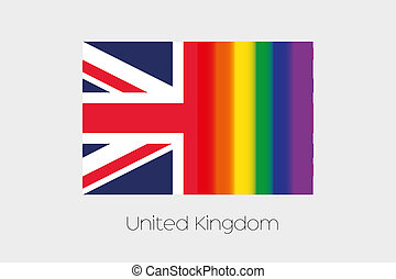 LGBT Flag Illustration with the flag of United Kingdom