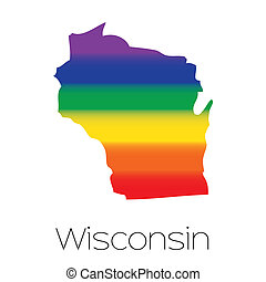 LGBT Flag inside the State of Wisconsin