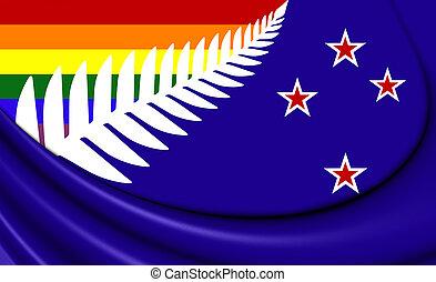 LGBT Flag of New Zealand. 3D Illustration.