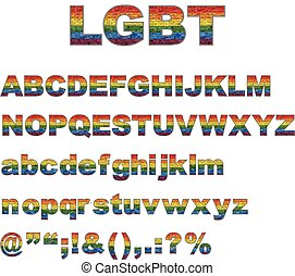 LGBT font, Stylized alphabet with flag of LGBT on a brick...