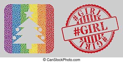 lgbt, grunge, noël, #girl, stencil, arbre, watermark, mosaïque