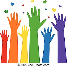 LGBT Hands Raised - Hands raised up with rainbow colors LGBT...