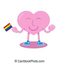 LGBT heart - Pink cute smile flat cartoon happy heart. It...