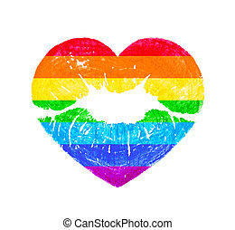 LGBT heart shape kissing lips in rainbow colors isolated on white background.