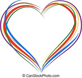 LGBT heart symbol. Sign of heart outline. Rainbow heart for...