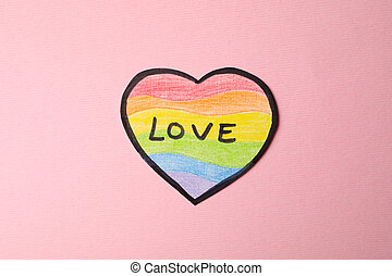 LGBT heart with text Love on pink background