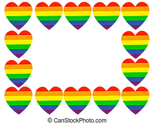 lgbt hearts isolated on white background with copy space for text