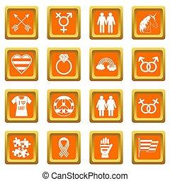 Lgbt icons set orange