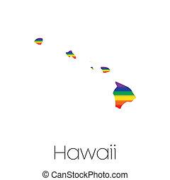 lgbt, intérieur, drapeau, état, hawaï