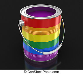 LGBT Paint can. Image with clipping path