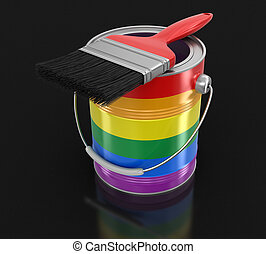 LGBT Paint can with brush. Image with clipping path