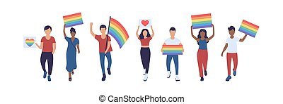 LGBT parade - Group of LGBT activists in parade. Vector ...