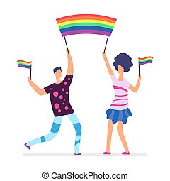 Lgbt parade. People holding rainbow flags. Man and woman vector character