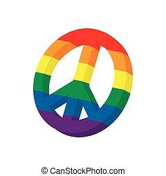 LGBT peace sign icon, cartoon style