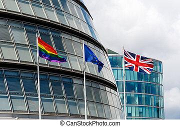 LGBT Pride Flag, EU Flag, and Union Jack