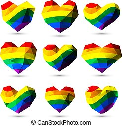LGBT rainbow colored gem hearts for Valetines Day for gay...