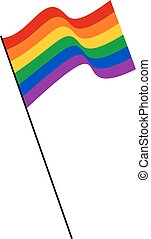 Waving rainbow LGBT flag for public events against homophobia and transphobia.