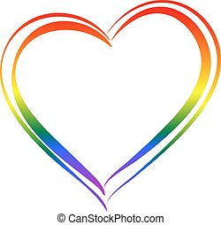 LGBT rainbow heart symbol love. Isolated on white vector illustration icon