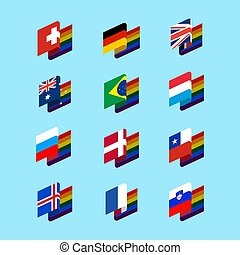 LGBT State flag set 1. Same-sex marriages Symbol of tolerant. Gay sign rainbow