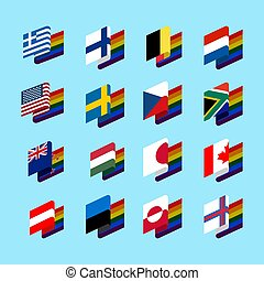 LGBT State flag set 2. Same-sex marriages Symbol of tolerant. Gay sign rainbow