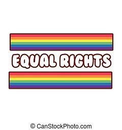 lgbtiq, estilo, alegre, comunidad, línea, relleno, bandera, letras, icono, derechos iguales
