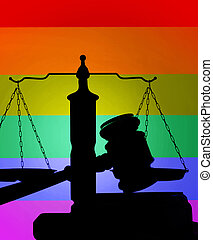 LGBTQ colors justice concept - Court gavel and scales of...