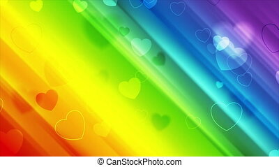 LGBTQ Pride Month abstract motion background with hearts - ...