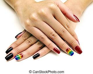 LGBTQ Pride Nail Polish - Symbolic LGBTQ pride rainbow nail...
