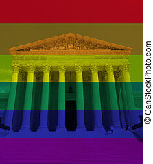 LGBTQ rainbow flag colors with the US Supreme Court in Washington DC