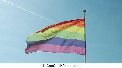 lgbtq, vent, fierté, développer, contre, bleu, arc-en-ciel, gay, sky., drapeau, grand
