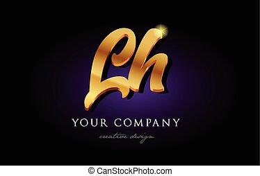 lh  l h 3d gold golden alphabet letter metal logo icon design handwritten typography