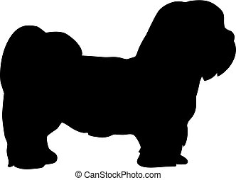 Lhasa Apso silhouette real in black