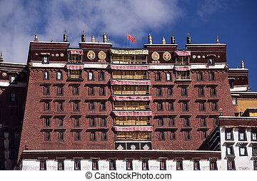 lhasa, potala, -, pałac, tybet