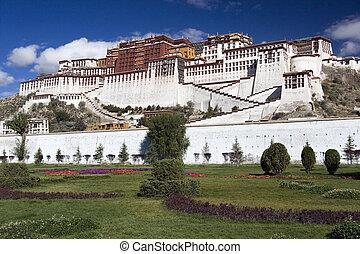 lhasa, potala, -, palacio, tibet