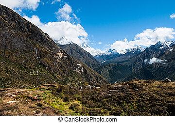 lhotse, e, ama, dablam, peaks:, himalaya, paisagem