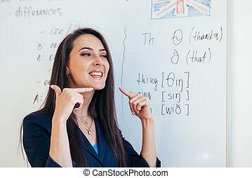 lição, pronunciar, como, inglês, sons, professor, mostra