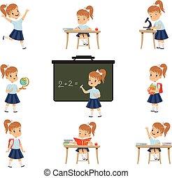 lições, cute, geografia, estudante, atividades, jogo, biologia, uniforme, schoolgirl, vetorial, vário, fundo, ilustrações, matemática, menina, branca