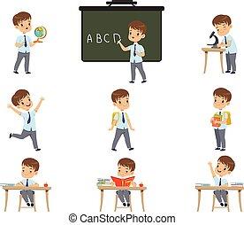 lições, cute, geografia, estudante, atividades, jogo, menino, biologia, uniforme, vetorial, vário, fundo, ilustrações, matemática, branca, aluno