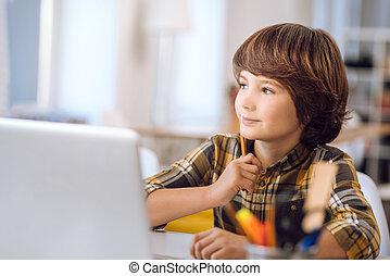 lições, inteligente, computer., devido, aprendizagem, criança