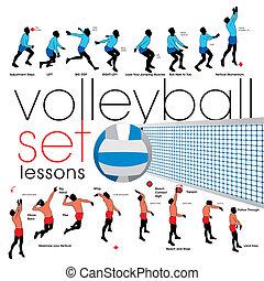 lições, jogo, voleibol