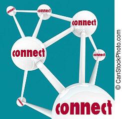 lié, sphères, -, réseau, relier