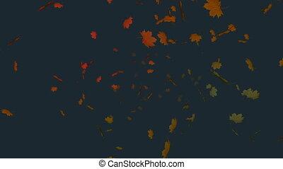liść, 4k, jesień, tło, szary, spadanie, przeciw