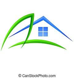 liść, i, dom, logo, wektor