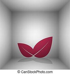liść, illustration., room., znak, bordo, cień, ikona