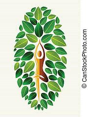 liść, indie, yoga, drzewo