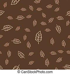 liść, liście, pattern., seamless, stylizowany, tło., ...